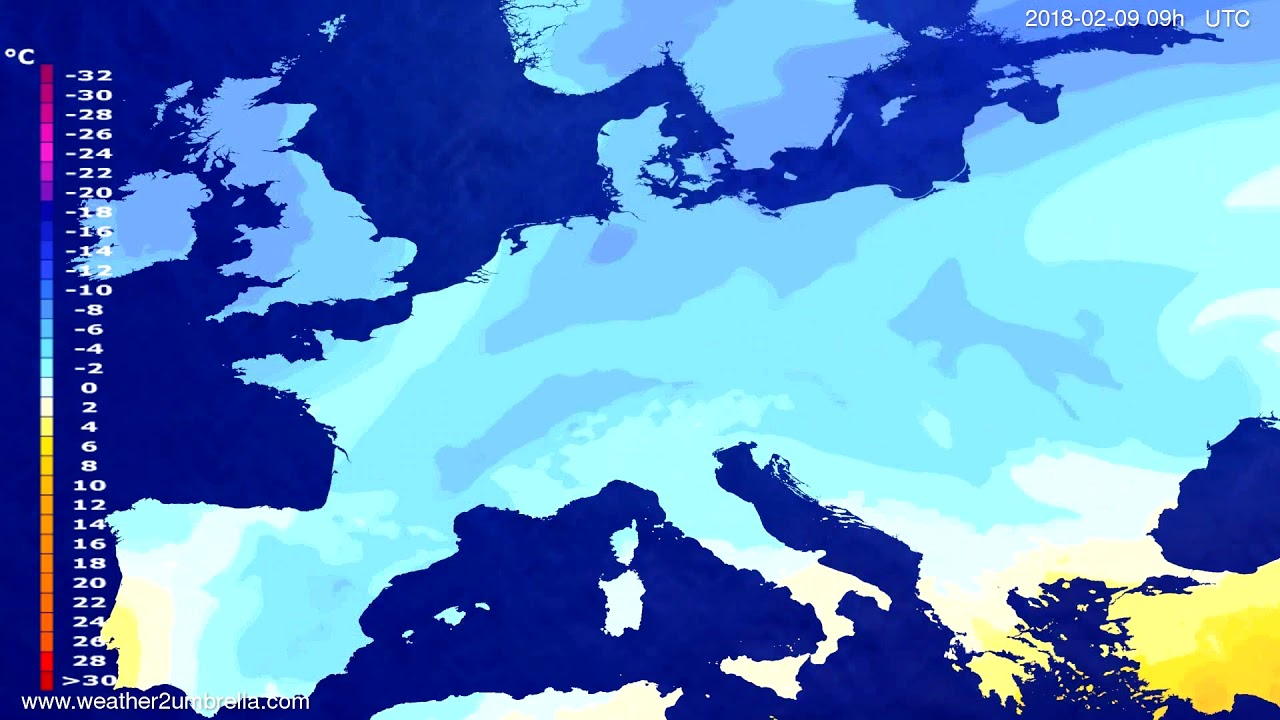 Temperature forecast Europe 2018-02-07