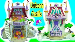 Queen Builds Playmobil Unicorn Castle & Schleich Dog Mom + Baby Puppy - Toy Video