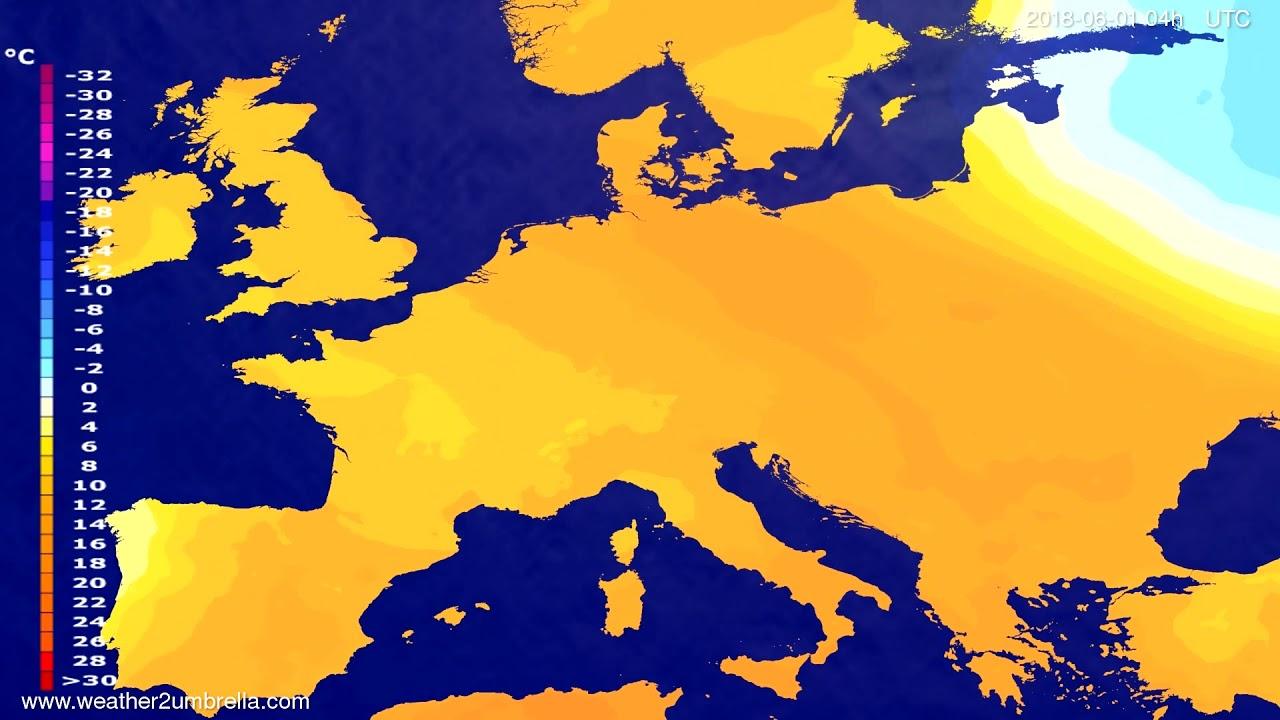 Temperature forecast Europe 2018-05-28