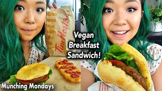 Tim Horton's Beyond Sausage Breakfast Sandwich VEGAN TASTE TEST MUKBANG // Munching Mondays Ep.25