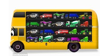 Learn street vehicles for kids with School bus. Cars and trucks. Transport for children