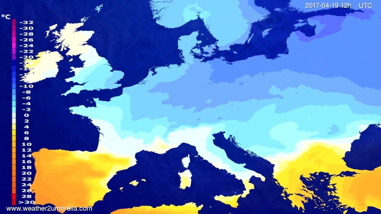 Temperature forecast Europe 2017-04-15