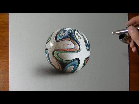 Drawing Time Lapse: Brazuca ball - hyperrealistic art