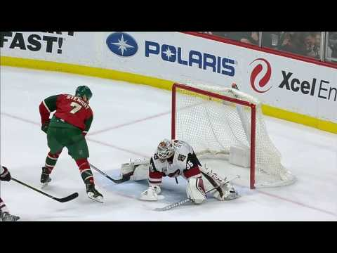 Video: Stewart slips one just under Domingue's pad for slick goal