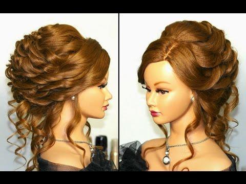 Bridal, wedding hairstyle for long hair. Вечерняя прическа, праздничная прическа.