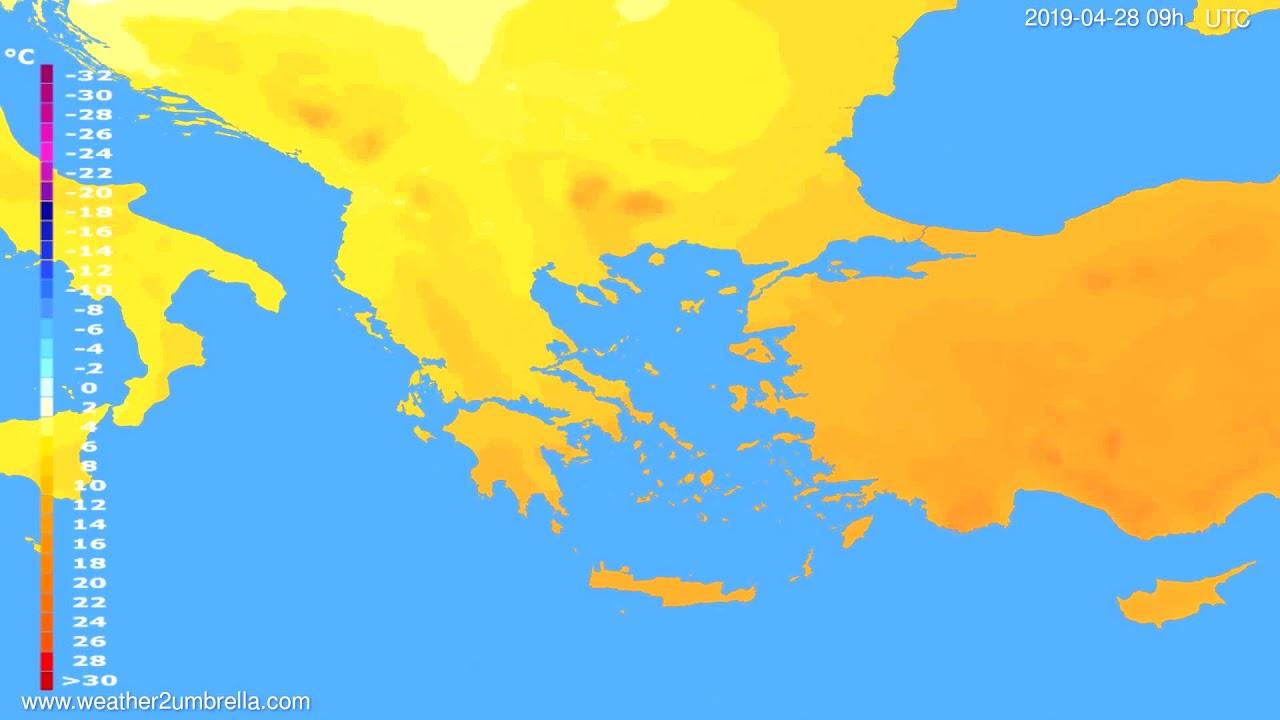 Temperature forecast Greece // modelrun: 12h UTC 2019-04-26