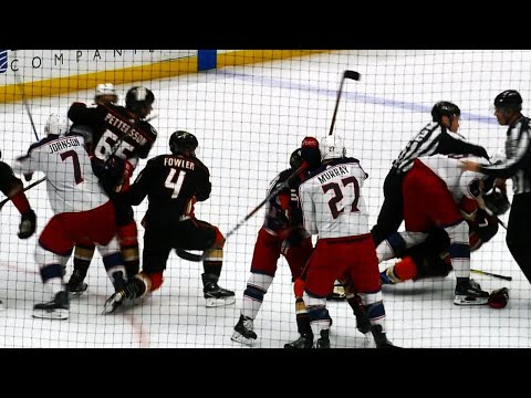 Video: Fowler misses, face plants trying to save Cogliano in fight