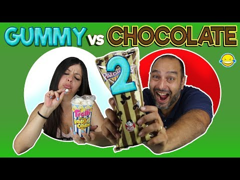 GUMMY vs CHOCOLATE 2!! Gominolas vs Chocolate 2!! Gomitas vs Chocolate 2!!