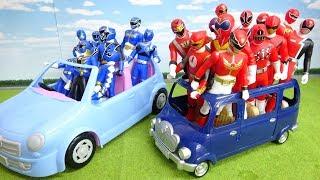 赤い戦隊ヒーロー大集合 ハリケンジャー車に乗ってみんなでドライブ デカレンジャー ゴセイジャー
