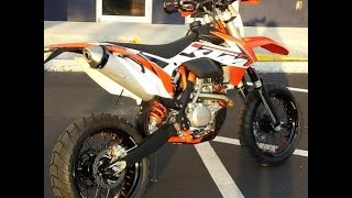 9. ktm 500 exc xc-w supermoto walk around, warp 9 wheels, crash sliders, acerbis tank