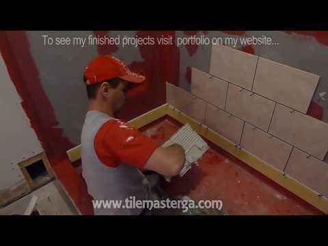 shower - In this video i am presenting how and where start tile installation in walk in shower walls - bathroom remodeling step by step!!! Brick, staggered tile patte...