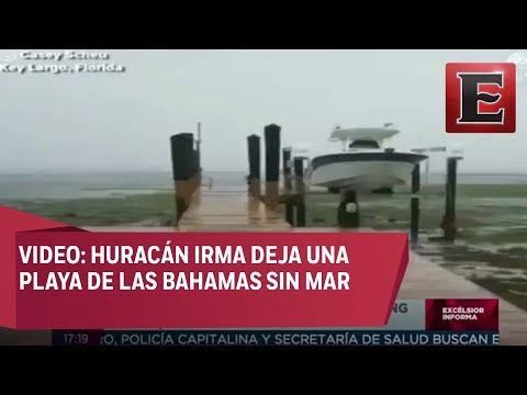 Huracán Irma deja playa de las Bahamas sin mar