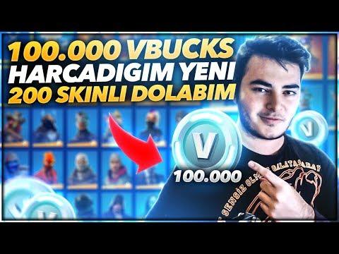 100.000 VBUCKS HARCADIĞIM YENİ +200 SKİNLİ FORTNİTE DOLABIM! (Fortnite Türkçe)