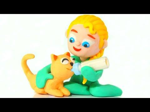 BABY ELSA TAKES CARE OF THE KITTEN  Spiderman, Hulk & Frozen Elsa Play Doh Cartoons For Kids