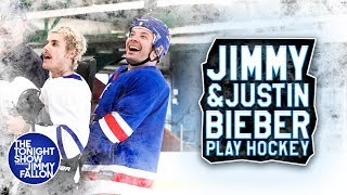 Video Justin Bieber Teaches Jimmy Fallon How to Play Hockey download in MP3, 3GP, MP4, WEBM, AVI, FLV January 2017