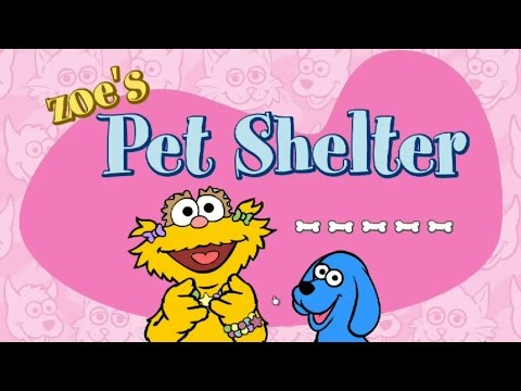 Sesame Street Zoe's Pet Shelter Kids Game Dogs Lizards Hamsters