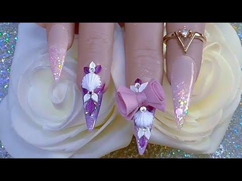 Gel nails - PURPLE WIZARD 3D GEL CLAM SHELLS