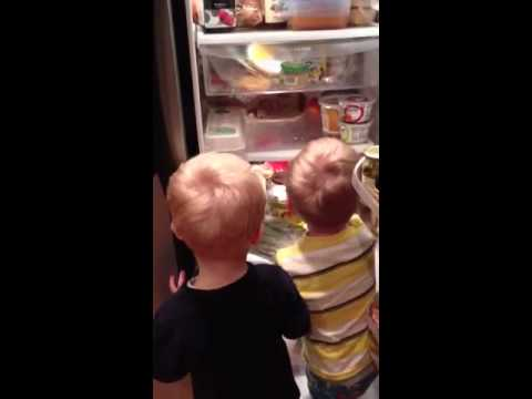 Twins picking out dinner