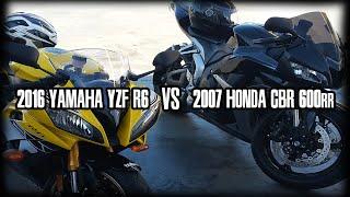 8. 2016 Yamaha YZF R6 vs 2007 Honda CBR 600rr