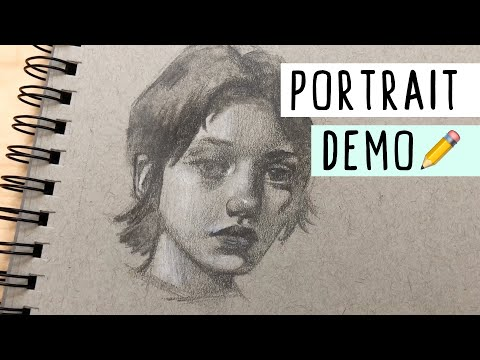 FULL Portrait Demonstration - TONS of Tips!✏️Trying the Strathmore Toned-Gray Sketchbook