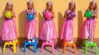 Rapunzel FOI CLONADO - Aprendendo cores com bolas, Five little babies jumping on the bed song colors