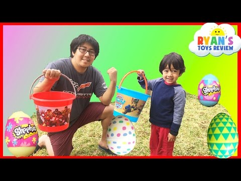 Easter Eggs Hunt Surprise Toys Challenge with Bunch O Balloons!