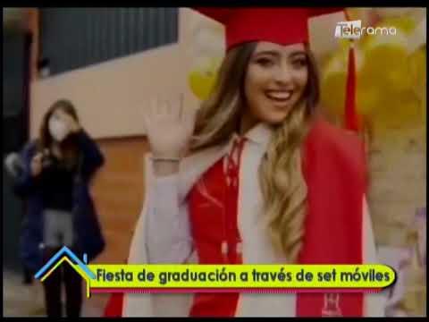 Fiesta de graduación a través de set móviles