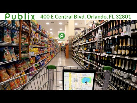 Shopping at Publix Super Market on Central Blvd in downtown Orlando, Florida