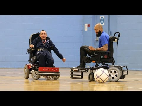 Video: Tim Howard tries his hand at powered wheelchair football