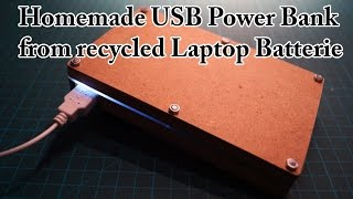 http://www.doityourselfgadgets.com for further details!This video shows a homemade fully working USB Power Bank for smartphones and USB devices. The batteries were recycled from an old Laptop Battery.Links:TP4056: http://www.dx.com/p/tp4056-4-2w-1-2a-5v-lithium-battery-charging-discharging-protection-module-w-micro-usb-blue-397213#.V7sOIqKOT4YUSB Boost converter: http://www.dx.com/s/usb+boostToggle switch: http://www.dx.com/p/diy-3-pin-toggle-switch-red-silver-5-piece-pack-134088#.V7sOc6KOT4YPlease subscribe to my channel for future projects!My Channel: http://www.youtube.com/user/TheLiquiderMy Website:http://www.doityourselfgadgets.com/Like me on facebook: http://www.facebook.com/DIYTechgadgetsMusic:www.machinimasound.com - Dance of the pixies© by Doityourselfgadets