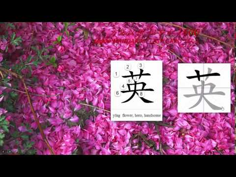 Origin of Chinese Characters -0403 英 yīng flower, hero, handsome- Learn Chinese with Flash Cards