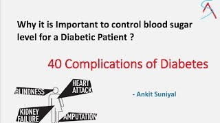 Here are reasons why a diabetic patient should control his blood sugar levels . 40 Complications of diabetes .Here are the references for this video1) Pathologic Basis of Diseases. Robbins & Cotran . 8th Edition2) Davidson's Principles & practice of Medicine. 22nd Edition 3) Harrison's Principles of Internal Medicine. 18th Edition4) International diabetic federation. http://www.idf.org/complications-diabetes5) National institute of Diabetes & Digestive & Kidney Diseases.https://www.niddk.nih.gov/health-information/diabetes/overview/preventing-problems