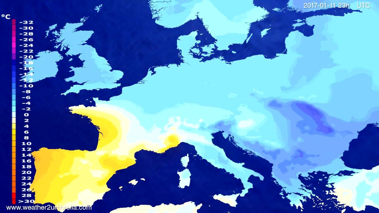 Temperature forecast Europe 2017-01-08