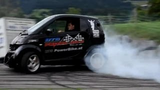 9. Smart Car with Hayabusa Turbo Engine! Smart Hayabusa Donuts and Burnout, Brutal Exhaust Sound!