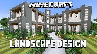 Minecraft Tutorial:  Modern Garden Landscape Design Ideas  (Modern House Build Ep. 22)