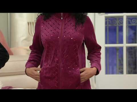 Quacker Factory Velour Sequin Jacket and Pant Set on QVC