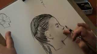 как нарисовать прическу в профиль