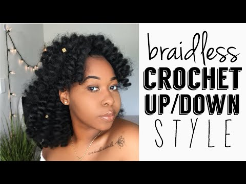 How To: Braidless Crochet Half Up Half Down Style | Easy Protective Style | Kinzey Rae