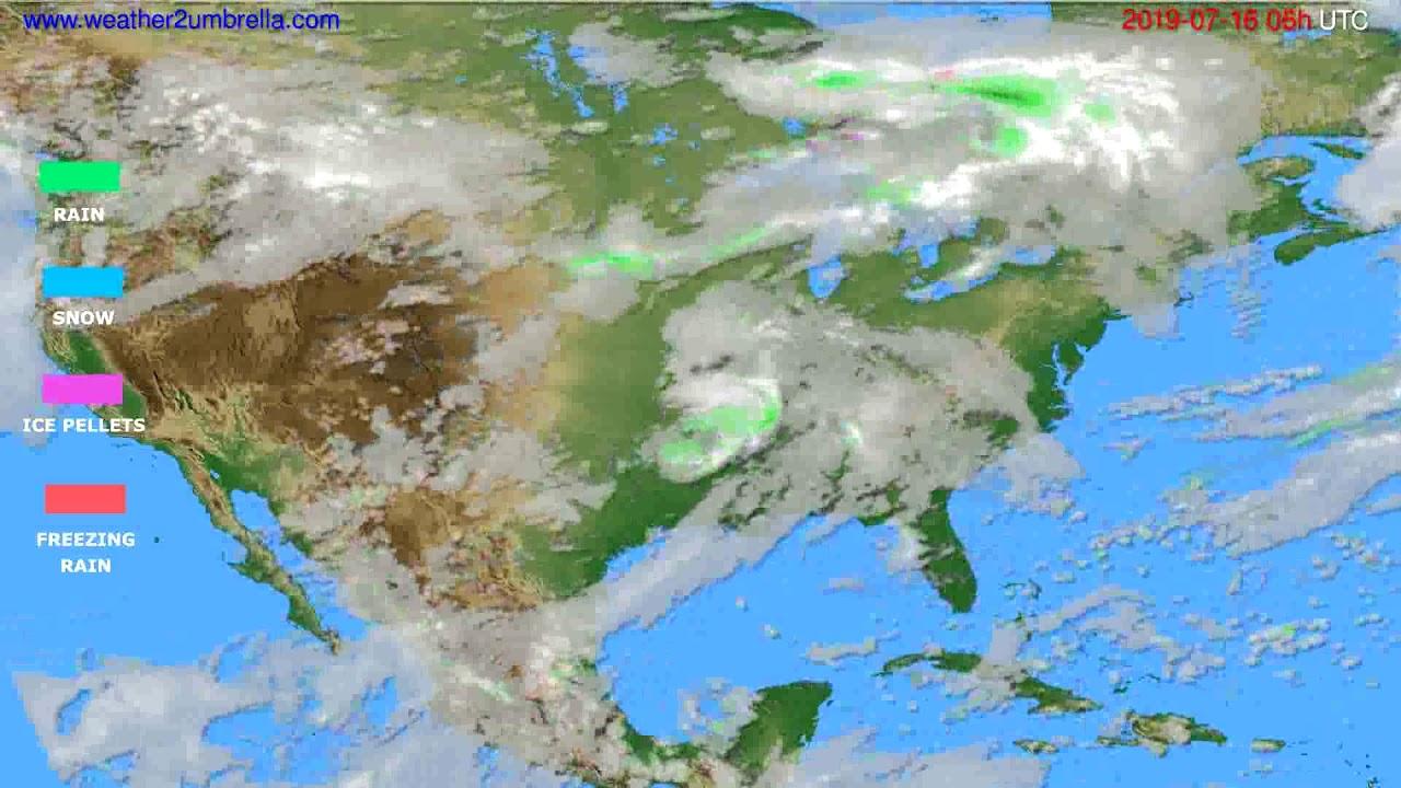 Precipitation forecast USA & Canada // modelrun: 00h UTC 2019-07-14
