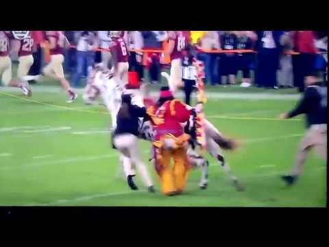 Florida state (FSU) mascot Embarrassingly Falls down taking the field Before Orange Bowl