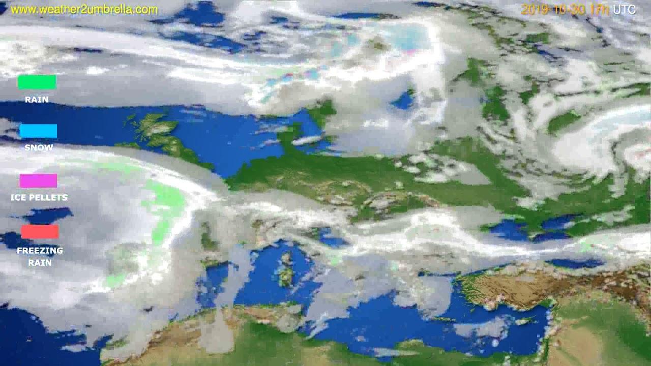Precipitation forecast Europe // modelrun: 12h UTC 2019-10-29