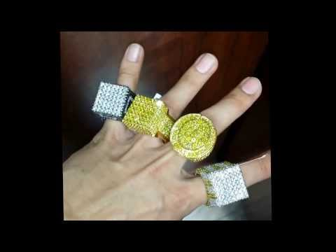 BIG CUSTOM SOLID GOLD AMD DIAMOND RINGS MADE BY FRANKY DIAMONDS