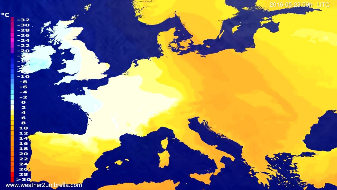 Temperature forecast Europe 2016-05-19