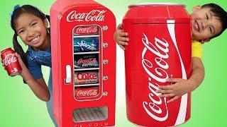 Wendy & Liam Pretend Play w/ Giant Coca Cola Vending Machine & Kid Refrigerator Toy