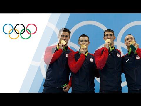 USA takes gold in Men's 4x100m Freestyle Relay