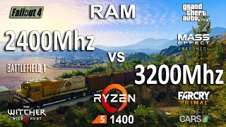 2400Mhz vs 3200Mhz DDR-4 RAM Test in 7 Games (Ryzen 5 1400)Games:Project Cars Battlefield 1 - 01:31Fallout 4 - 03:01Mass Effect Andromeda - 04:31Grand Theft Auto V -05:55The Witcher 3 - 08:05Far Cry Primal - 08:58System: Windows 10AMD Ryzen 5 1400 3.2GhzAsus PRIME B350M-AGTX 1060 6Gb16Gb RAM KingstonDDR4-2400Mhz3200Mhz