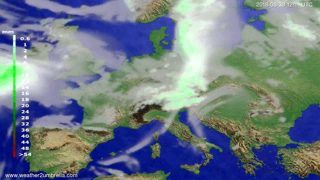 Precipitation forecast Europe 2018-08-28