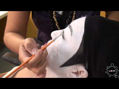 Geisha Or Maiko, Theatrical Makeup Process And Dressed In Kimono, For A Play