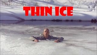 Today's walk on a thin ice - satisfying as hell ;D Dzisiejszy spacer po kruchym lodzie! Wiktor wpadł nogą do przerębla.