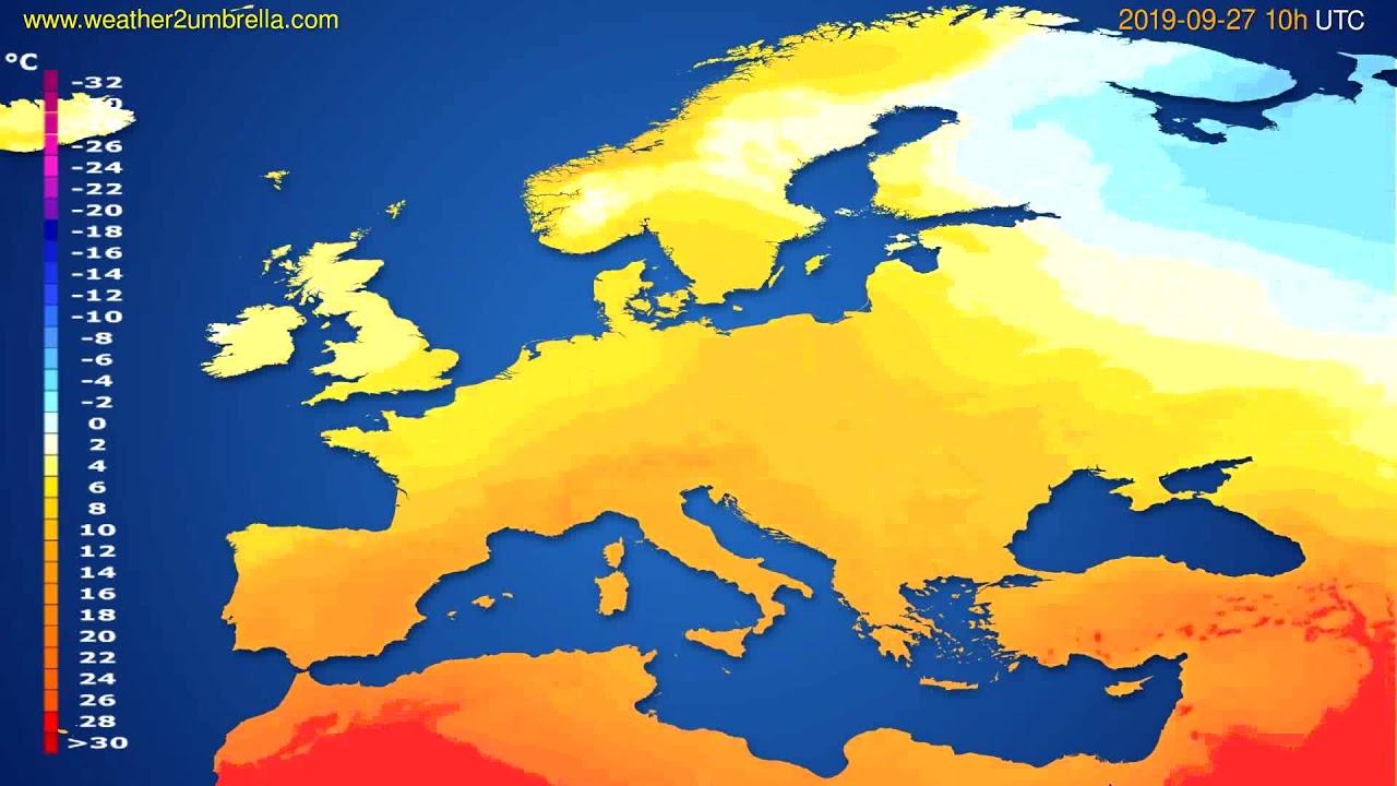 Temperature forecast Europe // modelrun: 12h UTC 2019-09-24
